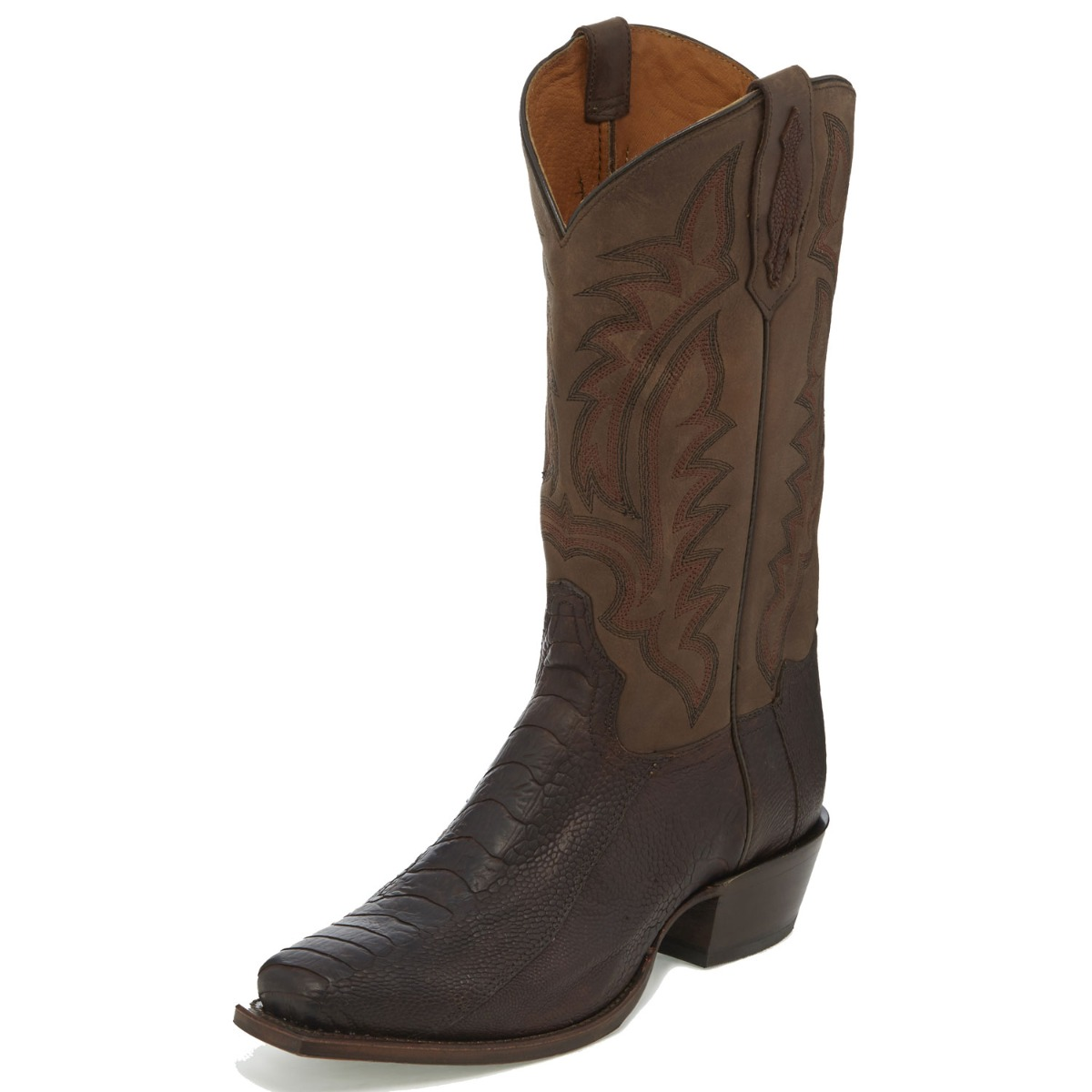 TONY LAMA MEN'S CHOCOLATE OILED OSTRICH LEG NARROW SQUARE TOE BOOTS