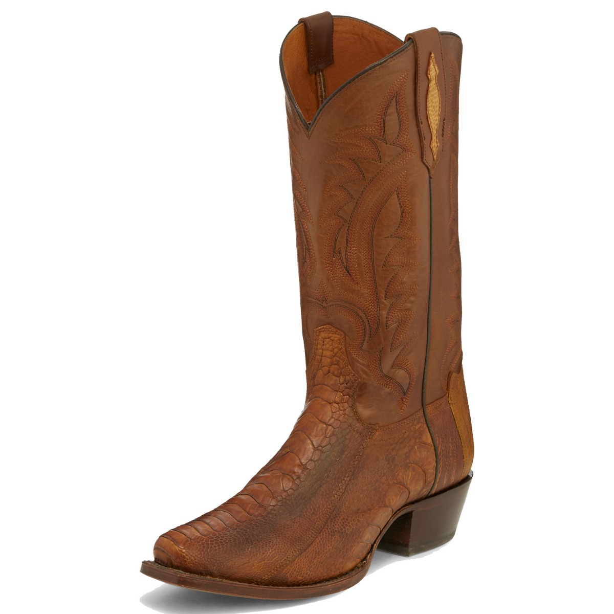 TONY LAMA MEN'S SUNSET OILED OSTRICH LEG NARROW SQUARE TOE BOOTS