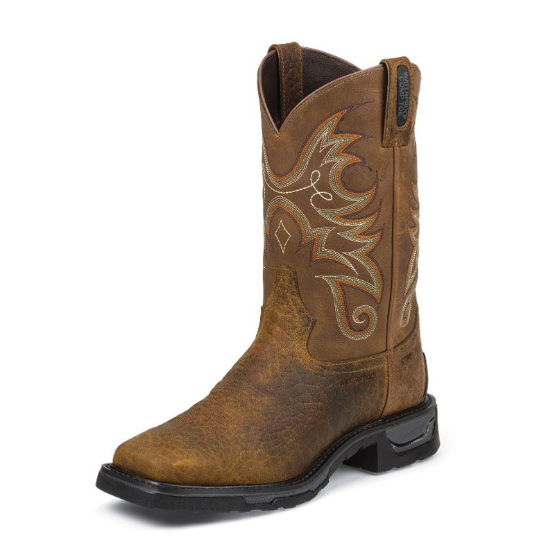TONY LAMA MEN'S BROWN SIERRA BADLANDS LEATHER SQUARE TOE WORK BOOTS