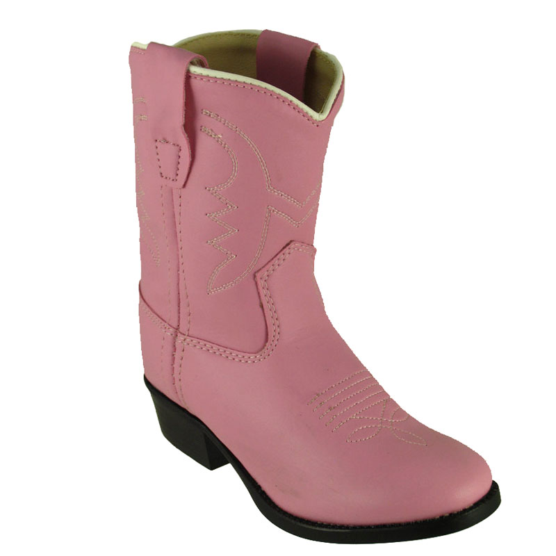 Old West Toddlers' Pink Round Toe Western Boot