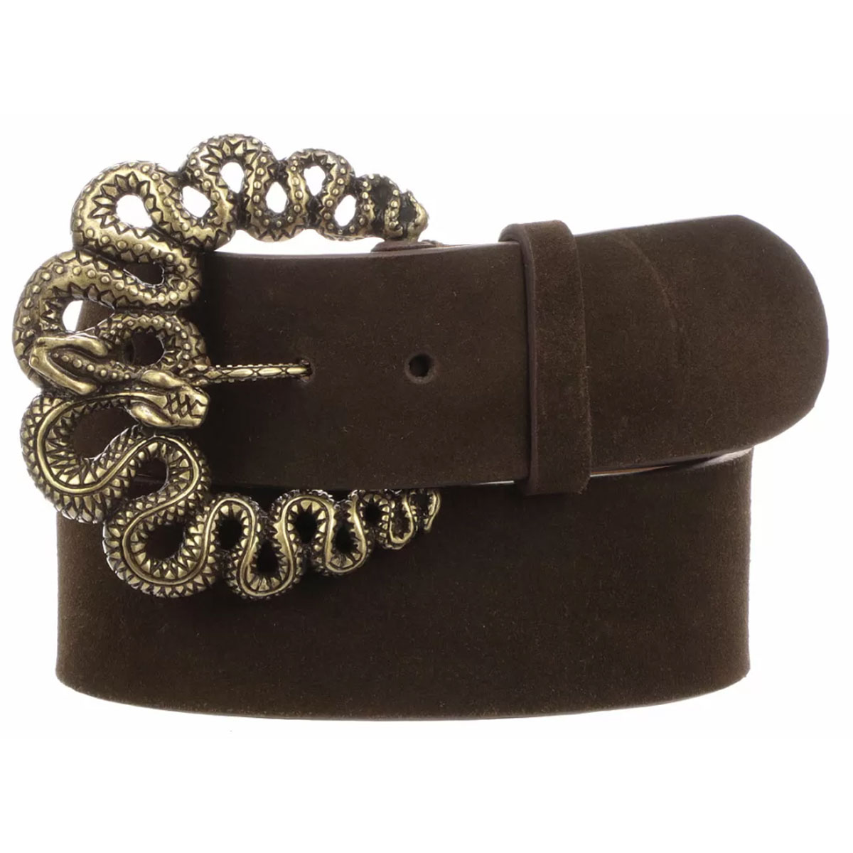 Lucchese Women's Dark Chocolate Suede Snake Buckle Belt