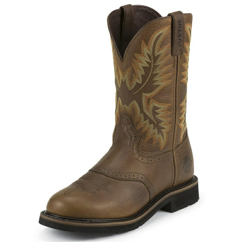 JUSTIN MEN'S SUNSET COWHIDE ROUND TOE WORK BOOTS