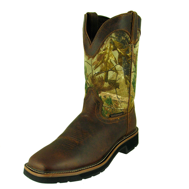 JUSTIN MEN'S TAN COWHIDE WATERPROOF SQUARE TOE WORK BOOTS