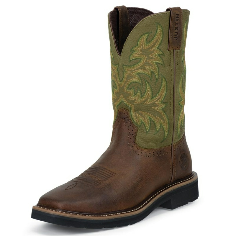 JUSTIN MEN'S WAXY BROWN COWHIDE WORK BOOTS