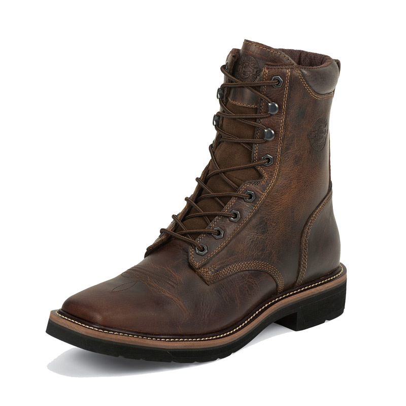 JUSTIN MEN'S RUGGED TAN SQUARE TOE WORK BOOTS
