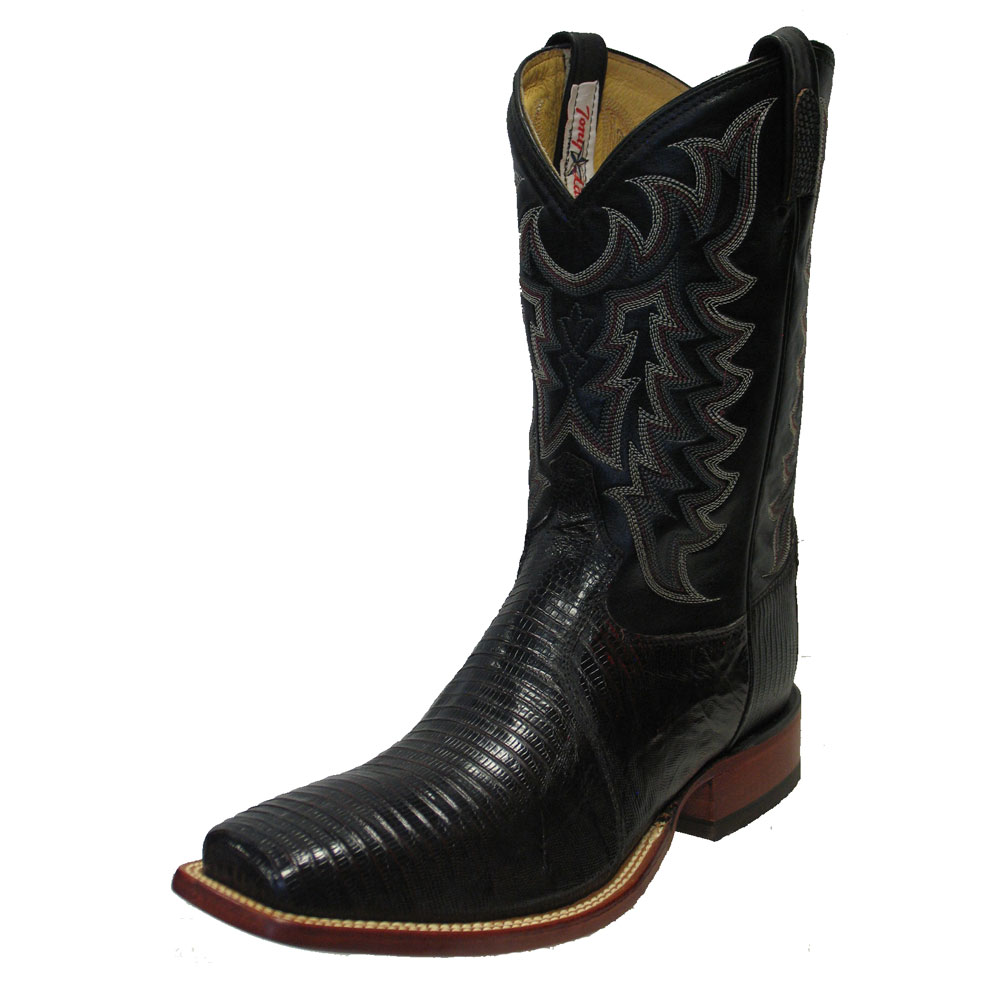 TONY LAMA MEN'S BLACK CHERRY LIZARD SQUARE TOE COWBOY BOOTS